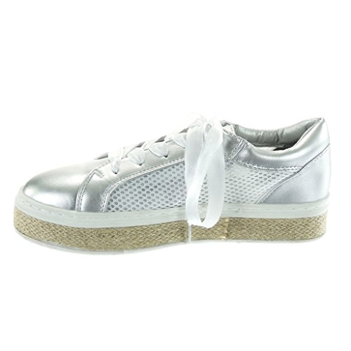 Angkorly Women's Fashion Shoes Trainers Espadrilles - Tennis - Platform - Satin Lace - Perforated - Cord Flat Heel 3.5 cm Silver xYW5fL