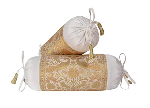 Lalhaveli Cylindrical Pillow Silk Bolster Cushion Covers Set of 2 Pcs 18 x 8 Inch