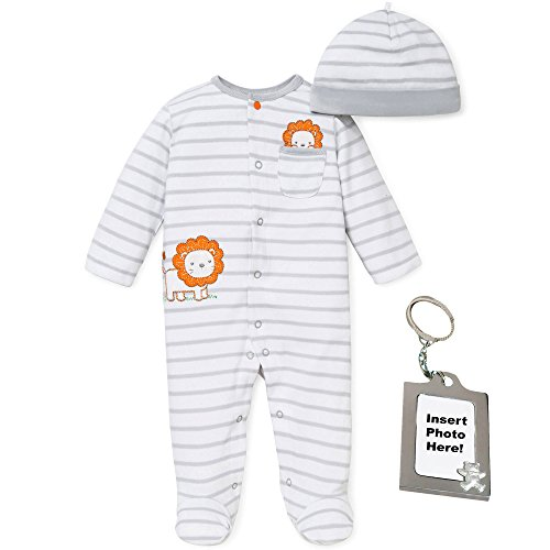 (Little Me Baby-Boys Newborn White Gray Striped Footed Sleeper Hat and Keychain)
