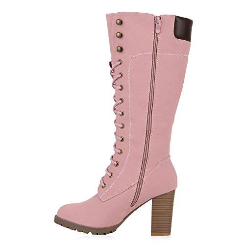 Stiefelparadies Damen Stiefel Plateau Boots Schnürstiefel Schuhe Profilsohle Flandell Rosa Autol