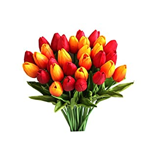 """Mandy's 30pcs Orange and red 14"""" Silk Artificial Tulips Flowers for Party Home Decoration 4"""