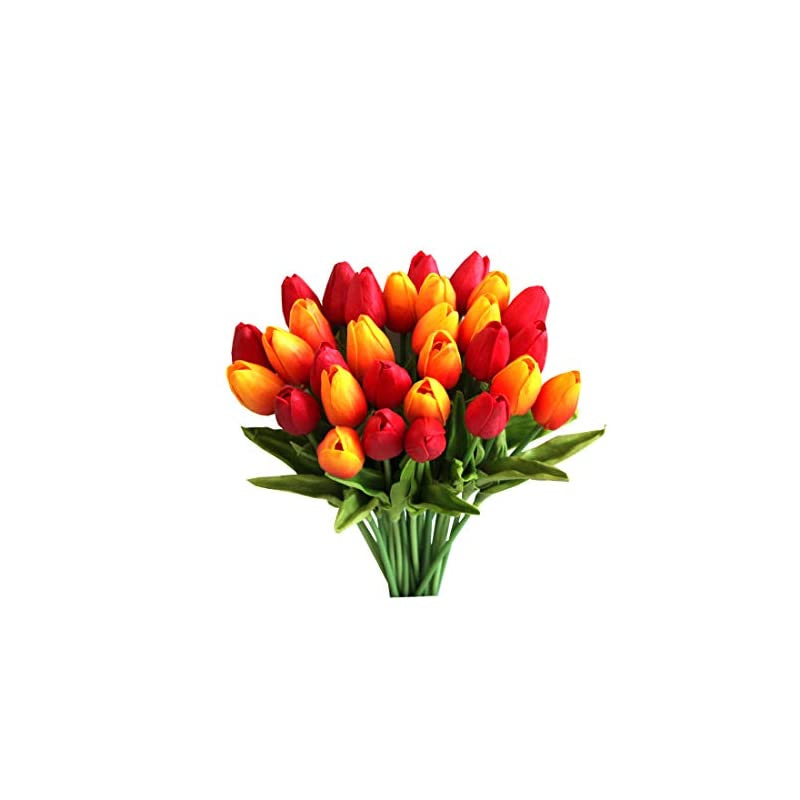 silk flower arrangements mandy's 28pcs orange and red artificial latex tulips for party home wedding decoration