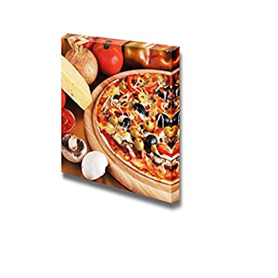 Canvas Prints Wall Art - Fresh Baked Pizza with Pepperoni Olives and Peppers | Modern Wall Decor/Home Art Stretched Gallery Canvas Wraps Giclee Print & Ready to Hang - 24