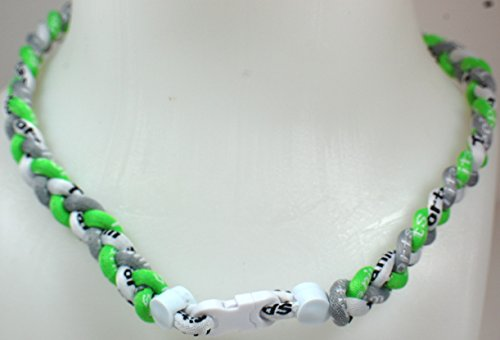 NEW! Sports Farm Custom Clasp Tornado Necklace - Neon Green White Gray (White Clasp)