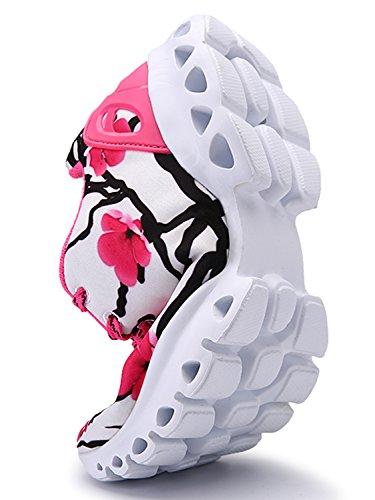 IIIIS-R Hombre plano Zapatos Deportivos Correr Caminar Gimnasio culturismo Ligero para Práctica rosa blanco
