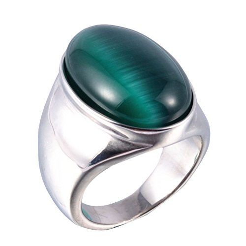 Oakky Jewelry Men's Stainless Steel Oval Green Cat's Eye Gemstone Rings Size 10 Cat Stainless Steel Ring