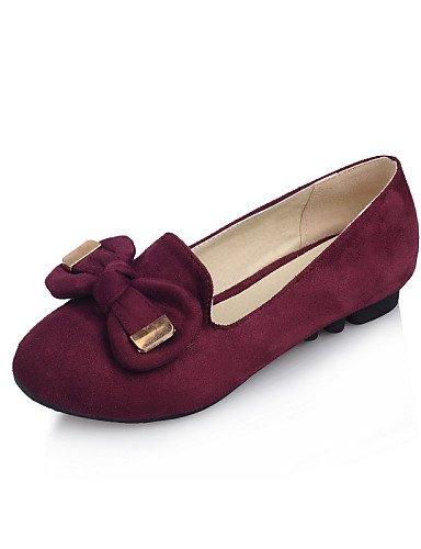 Rouge-us5.5   eu36   uk3.5   cn35 PDX femme Chaussures Talon Plat Bout Rond appartements Casual Noir bleu rouge