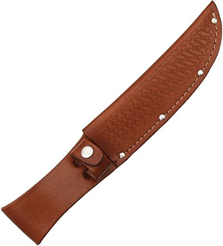 (Sheath Fixed Knife Sheath, Brown basketweave leather,Fits up to 6in blade)