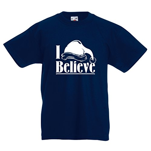 lepni.me T Shirts For Kids I Believe Santa Claus - Christmas Quotes, Xmas Outfits (3-4 Years Dark Blue Multi Color) Ridiculous Baby Outfits
