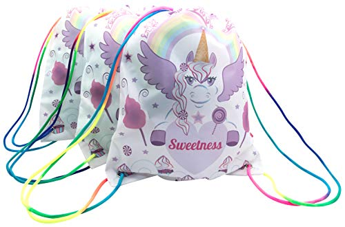 CandyJane 3-PACK Sweetness The Unicorn Drawstring bags backpacks With Rainbow Strap, Birthday Party Favor Bags, Overnight Bags, Treat Bags, Gift Wrapping Bags, Unicorn Party Supplies-Girls, Baby, Kids -