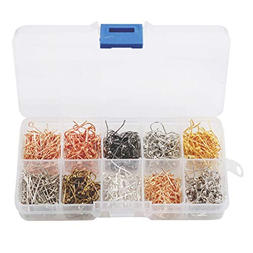 Tosnail 440 Pieces Earring Hooks and Eye Pins Set with Clear Plastic Storage Case - 8 Color ()