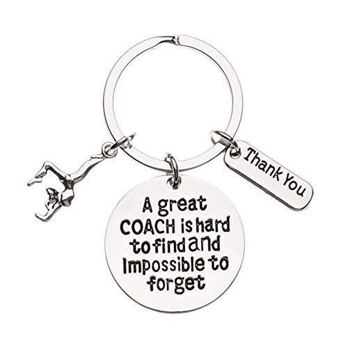 Infinity Collection Gymnastics Coach Keychain, Gymnastic Coach Gift, Great Coach is Hard to Find But Impossible to Forget Coach Keychain