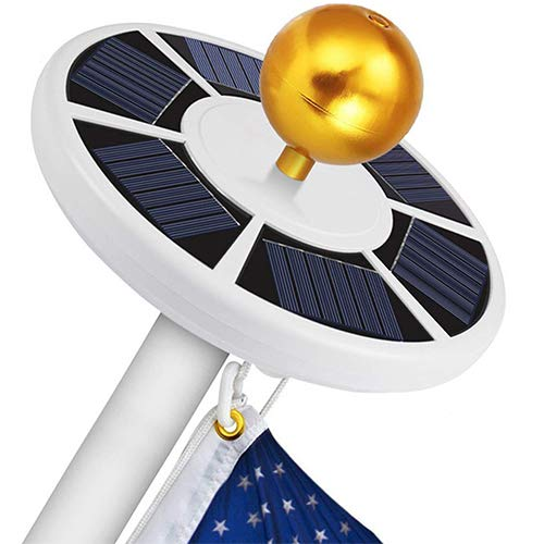 (GOGODUCKS Solar Flag Pole 26 LED Light IP65 Weatherproof Downlight Lights up Flag on Most 15 to 25 Ft Flagpole with Auto On/Off Night Lighting (White))