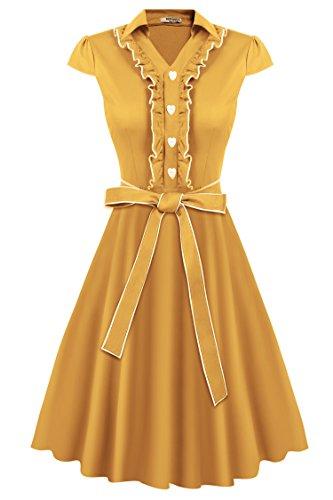 HOTOUCH Mujer Vestido Vintage Retro 1950s 'Audrey Hepburn' Rockabilly Vestido Coctel Amarillo