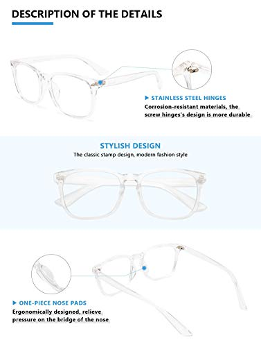 Livho Blue Light Blocking Glasses, Computer Reading/Gaming/TV/Phones Glasses for Women Men,Anti Eyestrain & UV Glare LI8081 (Clear)