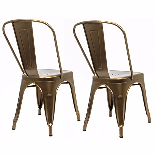 9TRADING 2 Pack Modern Indoor Outdoor Bistro Bar & Dining Promenade Side Chair Bronze New,Free Tax,Delivered Within 10 Days