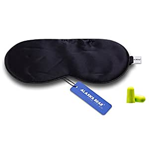 Alaska Bear Natural Silk Sleep Mask, Blindfold, Super Smooth Eye Mask (One Strap)