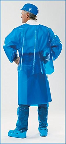 VR Protective Wear Vinyl Replacement Coverback Gown w/elastic-cuffs 6 mil translucent blue large 45 inch length, (Pack of 50) PolyConversions, Inc. 42851 by VR Protective Wear (Image #1)