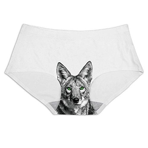 Slim Panties Green Eyed Coyote Printing Ice Silk Briefs Underwear