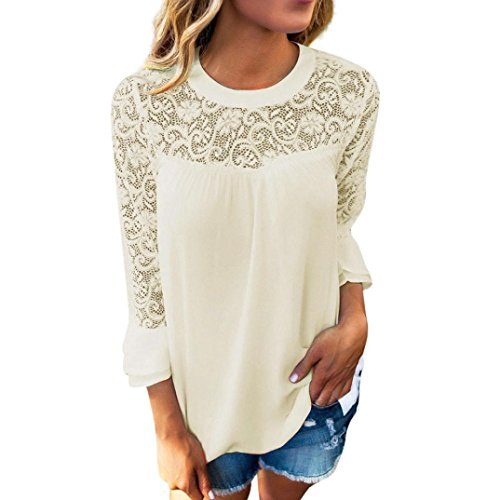 TOPUNDER 2018 Women Ladies 3/4 Sleeve Blouse Frill Tops Ladies Shirt Embroidery Lace T Shirt by (Beige, Small)