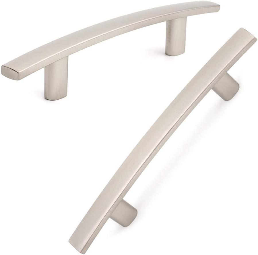 Koofizo Curved Bar Cabinet Pull - Matte Brushed Nickel Furniture Arch Handle, 3 Inch/76mm Screw Spacing, 10-Pack for Kitchen Cupboard Door, Bedroom Dresser Drawer, Bathroom Wardrobe Hardware
