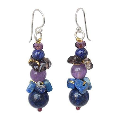 Multi Stone Dangle - NOVICA Multi-Gemstone Lapis Lazuli and Amethyst Beaded Dangle Earrings, Thai Harmony'