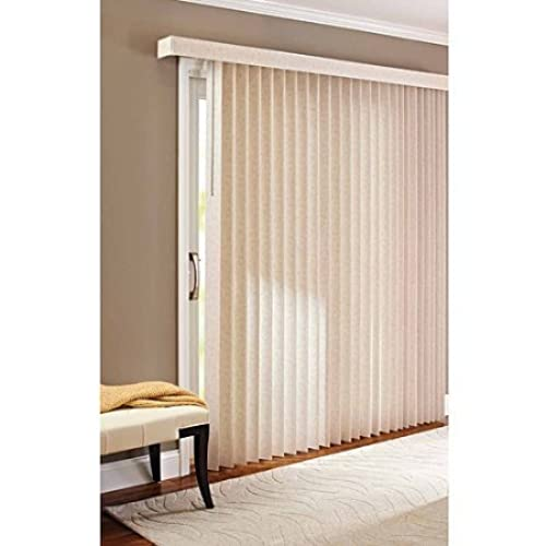 78 X 84 Light Control Durable PVC, Vertical Textured S Slat Privacy Blinds,  Beige