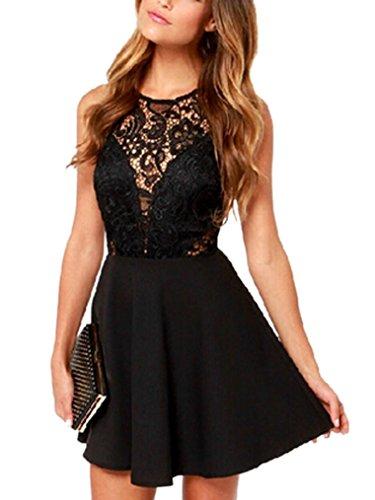 DATO Corto de Negro sin del Rüchenfreies Sleevelss Lady negro Mini Mini Vestido Respaldo Punta Vestido qq8x1rR