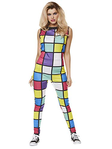 80s Disco Costume - Halloween Womens Multicolored Sleeveless Jumpsuit, Medium -