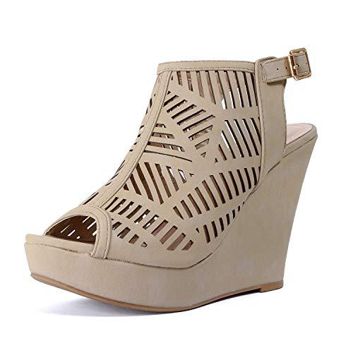 Guilty Heart Womens Gladiator Strappy Open Toe Platform Comfortable Wedge Sandals (10 M US, Beigev5)