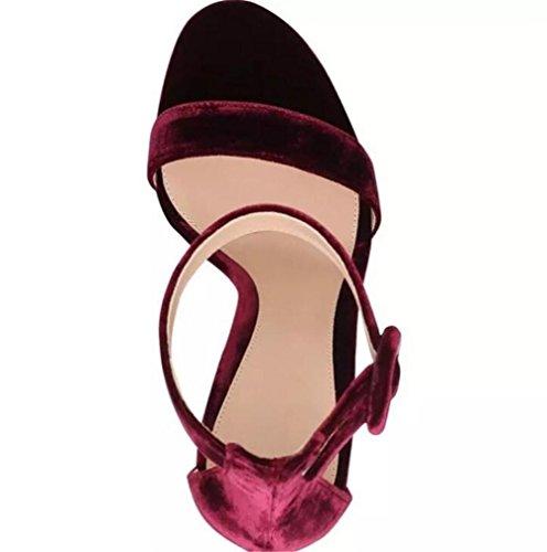 35 Noche Zapatillas Fiesta Sandalias De A Tobillo Y Xie Zapatos Correa Talla Estilete Mujer Terciopelo 41 Tacón SI6wHY7qP