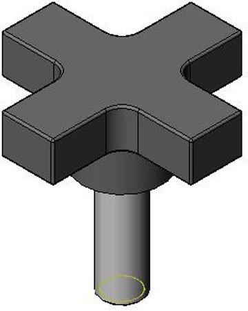 1 1/2'' Star, 5/16-18 x 1 3/4'' Stud, Star Type, Luster Finish, Extruded Aluminum Knob (1 Each)