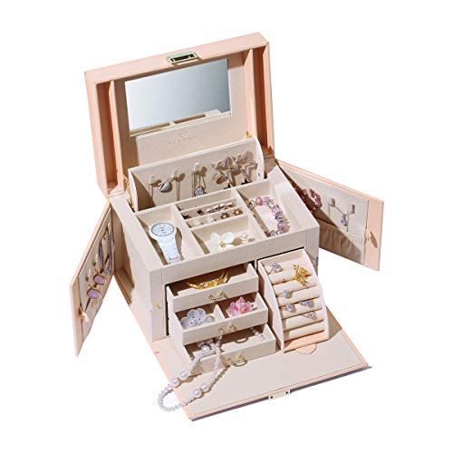 Vlando Mirrored Jewelry Box Organizer for Ladies (Pink)