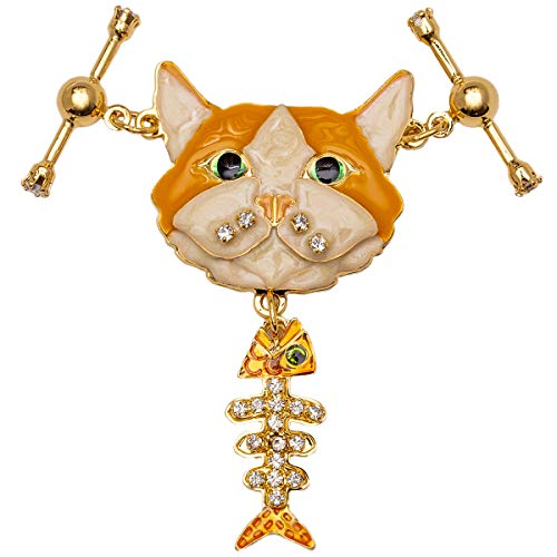 Lunch at The Ritz Cat & Fish (Goldtone) Locket Girls Women Jewelry Anniversary Party Gift from Esme's Private Vault