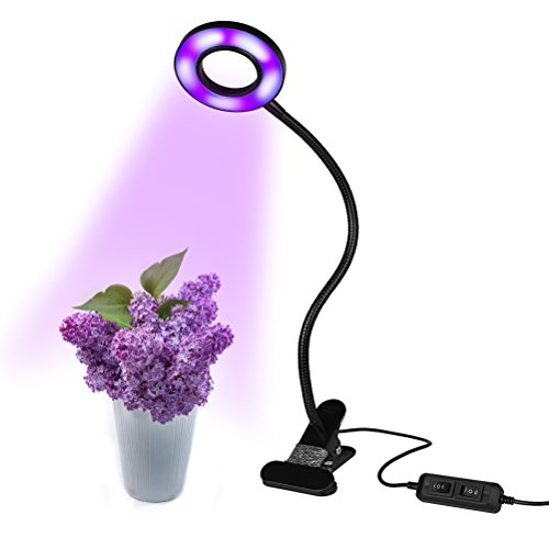 Pot Grow Lights - IUNIQEE 10W LED Grow Light, 360°Adjustable Gooseneck With Metal Clip Plant light Desk lamp, Indoor Plants Grow Lamp for Bonsai, Pot Plant, Hydroponics, Horticultural Garden
