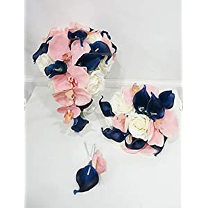 Sweet Home Deco Silk Phanaenopsis Orchid Rose Calla Lily Mixed Wedding Bridal Bridesmaid Bouquet Boutonniere Pale Pink/Navy Blue/White 65