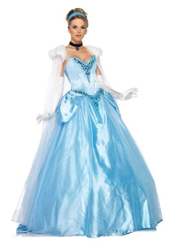 Leg Avenue Disney 6Pc. Deluxe Princess Cinderella Dress Cape Crown Head Piece, Blue, Medium (Adult Cinderella Dress)