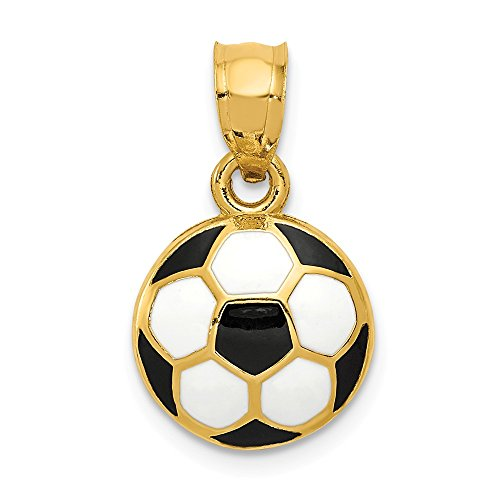 Real 14kt Yellow Gold Enameled Soccer Ball Pendant 14kt Gold Soccer Ball Charm