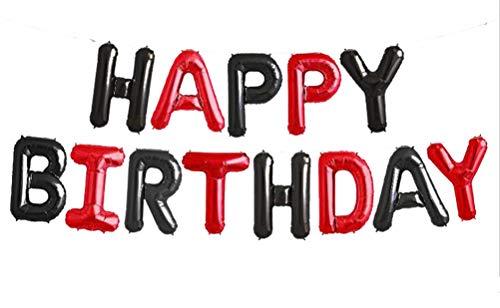 SGODA Happy Birthday Mylar Balloons Letters Balloon Red and Black]()