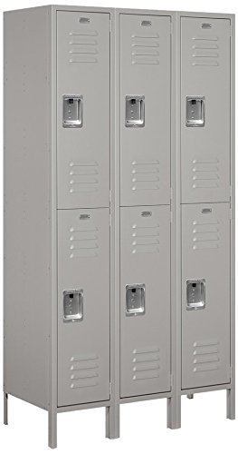 Salsbury Industries 52368GY-U Double Tier 45-Inch Wide 6-Feet High 18-Inch Deep Unassembled Extra Wide Standard Metal Locker, Gray by Salsbury Industries