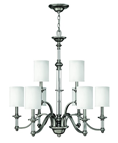 Sussex Nine Light Chandelier - Hinkley 4798BN Traditional Nine Light Foyer from Sussex collection in Pwt, Nckl, B/S, Slvr.finish,