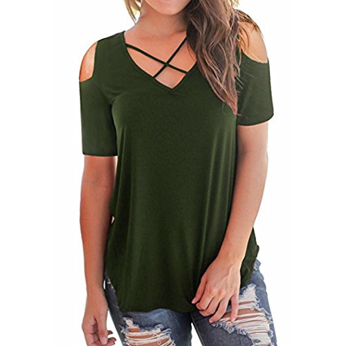 Wintialy Women's Cold Shoulder Short Sleeve T-Shirts Tops Casual Criss Cross Tunic Tee Shirts