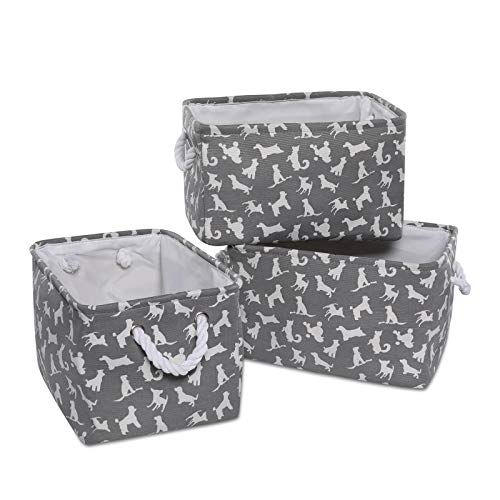 Basket Liner Patterns - Foldable Linen Canvas Storage Baskets - Storage Large Basket Set 3pack Carry Handles Bins Organizer, for Nursery Home Shelves and Office (Dog Pattern(15