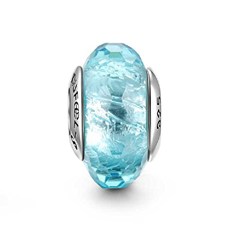 SOUFEEL Sea Blue Ice Crystal Murano Glass Bead 925 Sterling Silver Fit European Bracelets and Necklaces