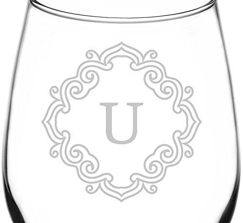 (Monogrammed U) Unique & Elegant Border Monogram Inspired - Laser Engraved 12.75oz Libbey All-Purpose Wine Taster Glass