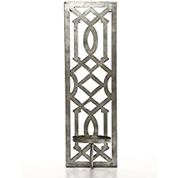 "Hosley 17"" High Iron Wall Pillar Candle Sconce, Antique Silver Galvanized Finish. Ideal Gift for Wedding, Special Occasions, and Use in Home, Den, Office, Spa, Aromatherapy, and Candle Gardens O3"