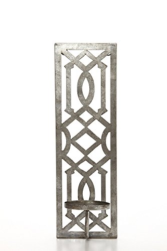 Hosley 17 Inch High Iron Wall Pillar Candle Sconce Mid Century Modern Antique Silver Galvanized Finish. Ideal Gift Wedding Special Occasions, Use in Home Den Office Spa Aromatherapy, Gardens O4