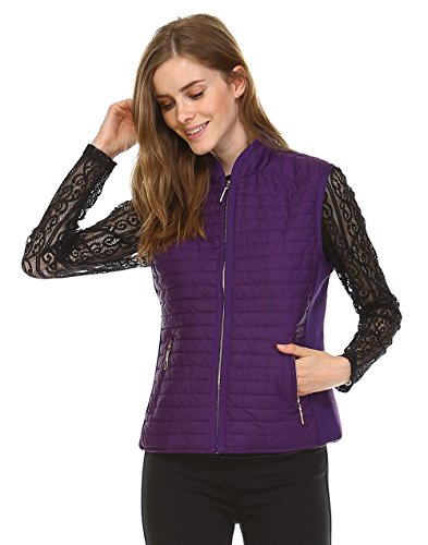 Daisy Fashion women casual quilted padding side rib detail zipped jacket vest. Comfy gorgeous fit. Gold zipper. (J601) (Large, Egg Plant) by JEZEEL