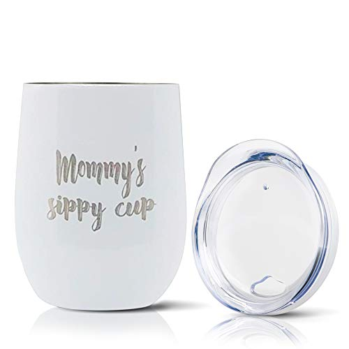 Stainless Steel 12oz Wine Glasses - Insulated Outdoor Double Wall Cups with Funny Message Steel Travel Cups - Mommy