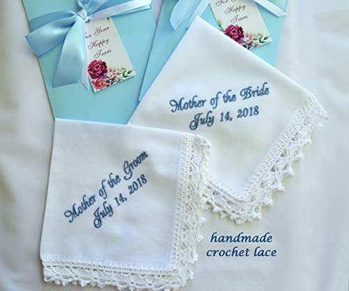 Handmade wedding handkerchief set for mother of the bride and mother of the groom from Bride Wedding gift for Mother in law, Wedding hankerchief for Mom keepsake Personalized hankies Embroidered ()